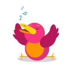 Funny cartoon bird character singing vector Illustration