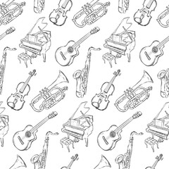Sketch Musical Instruments Seamless Pattern