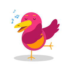 Colorful cartoon bird character in geometric shape singing vector Illustration