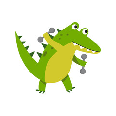 Cute cartoon crocodile character raising dumbbells vector Illustration
