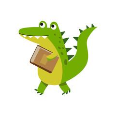 Cute cartoon crocodile character walking with book vector Illustration