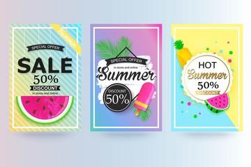 Set of summer sale background, banner, flyer.