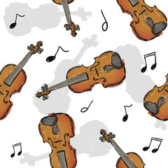 Violin Paint Seamless Pattern