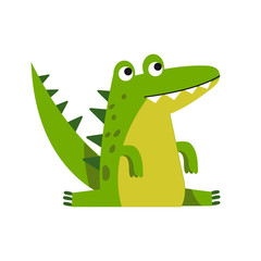 Funny cartoon crocodile character sitting vector Illustration