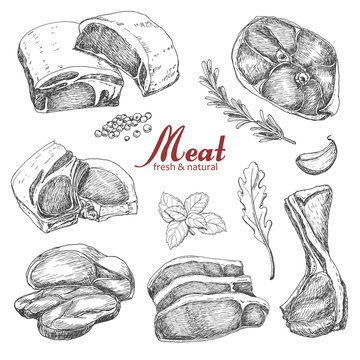 Set of hand drawn meat isolated on white background