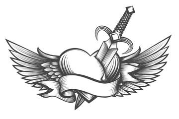 Winged heart pierced by dagger drawn in tattoo style