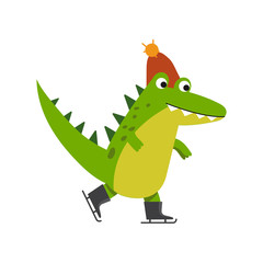 Funny cartoon crocodile character skating wearing knitted hat vector Illustration