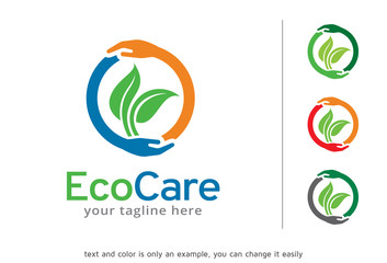 Eco Care Logo Template Design Vector, Emblem, Design Concept, Creative Symbol, Icon