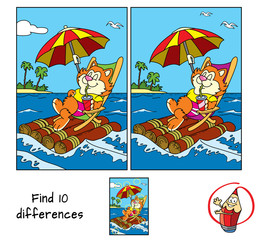 Cute fat cat in a deckchair floats by sea on a raft with umbrella. Find 10 differences. Educational game for children. Cartoon vector illustration