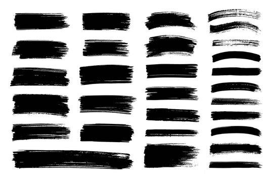 Vector black paint, ink brush stroke, texture.