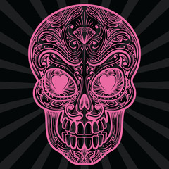 Pink mexican sugar skull tatoo on dark background. Vector illustration