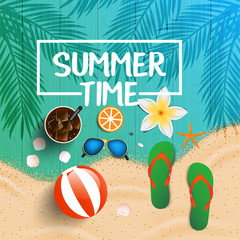 Summer time background. Top view on seashells, sun glasses, fresh cocktail, flip flops, beach ball, flowe and sea sand on wooden texture. Vector illustration.