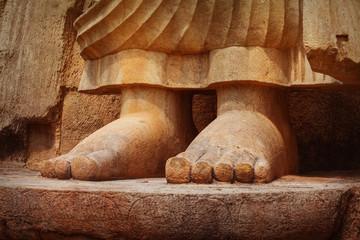 Feet of Avukana statue is standing statue of Buddha. Sri Lanka, Kekirawa