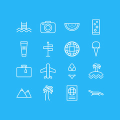 Vector Illustration Of 16 Summer Icons. Editable Pack Of Earth, Anti-Sun Cream, Sorbet And Other Elements.