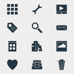 Vector Illustration Of 12 Web Icons. Editable Pack Of Landscape Photo, Bookshelf, Coupon Elements.