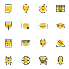 Vector Illustration Of 16 Science Icons. Editable Pack Of Car, Write Table, Textbook And Other Elements.