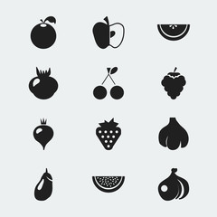 Set Of 12 Editable Dessert Icons. Includes Symbols Such As Citrus, Cantaloupe, Morello Cherry And More. Can Be Used For Web, Mobile, UI And Infographic Design.