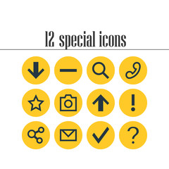 Vector Illustration Of 12 User Icons. Editable Pack Of Alert, Help, Top And Other Elements.