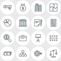 Vector Illustration Of 16 Business Icons. Editable Pack Of Calculate, House, Tactics And Other Elements.