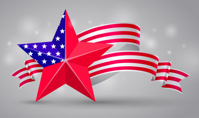 Banner with american flag ribbon. USA flag symbol. 4 July