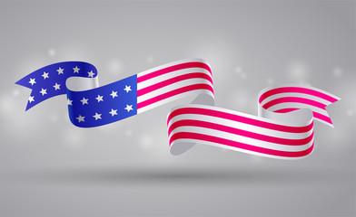 Banner with american flag ribbon. USA flag symbol. 4 July