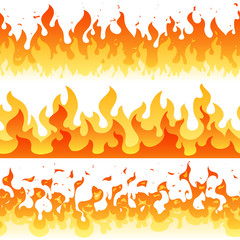 Cartoon fire flame vector seamless frame borders