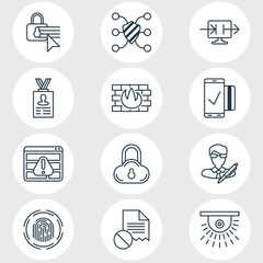 Vector Illustration Of 12 Protection Icons. Editable Pack Of Data Error, Account Data, Safeguard And Other Elements.