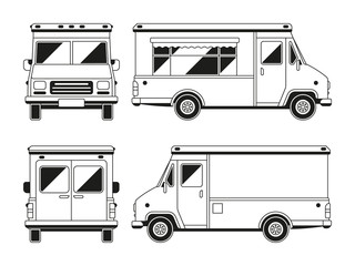 Blank commercial food truck in different points of view. Outline vector template for you advertising