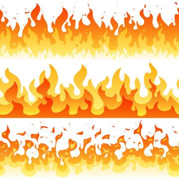 Cartoon fire flame vector seamless frame borders