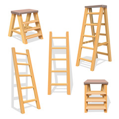 Wood household steps. Isolated wooden ladder vector set