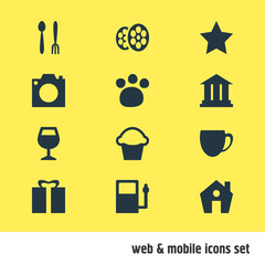 Vector Illustration Of 12 Location Icons. Editable Pack Of Film, Photo Device, Cake And Other Elements.