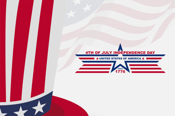 american independence day background with hat, for greeting card and wallpaper