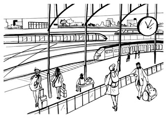 General view of railway platform with trains and passengers. Horizontal black and white picture, hand drawn vector sketch illustration.