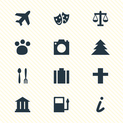 Vector Illustration Of 12 Location Icons. Editable Pack Of Photo Device, Pet Shop, Refueling And Other Elements.