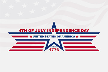 Clean flat american independence day background, for greeting card and wallpaper