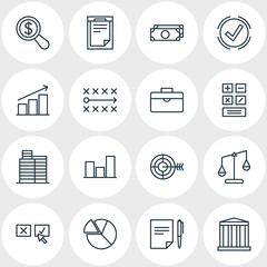 Vector Illustration Of 16 Business Icons. Editable Pack Of Balance, Building, Graph And Other Elements.