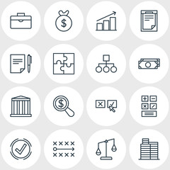 Vector Illustration Of 16 Trade Icons. Editable Pack Of Building, Cash, Riddle And Other Elements.