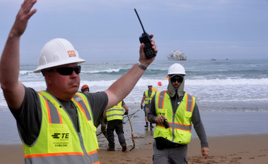Facebook Inc. and Microsoft Corp. join forces to build an undewater fiber optic cable across Atlantic Ocean at Arrietara beach, near Bilbao