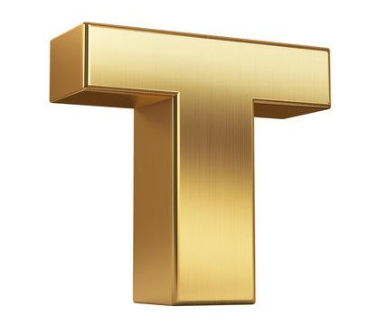 3d render illustration. Gold letter T on a white background.3d render illustration. Gold letter T on a white background.