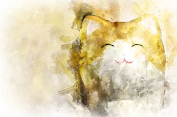 Maneki Neko, Japanese well-wishing porcelain cat, water color painting filter