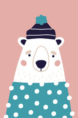 Cute polar bear in hat and sweater on pink background. Vertical greeting card. Colorful illustration for postcard in cartoon style.