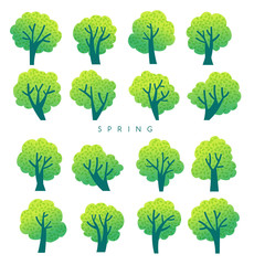 Set of various cute trees on white background : Vector Illustration