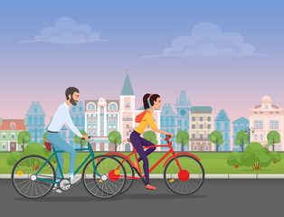 Couple riding bicycles in old architecture city public park. Cartoon illustration.