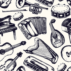 Musical Instruments - one color hand drawn seamless pattern