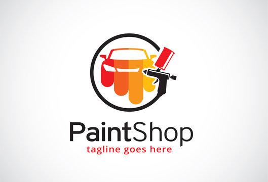 Paint Shop Logo Template Design Vector, Emblem, Design Concept, Creative Symbol, Icon