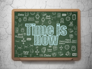 Time concept: Time is Now on School board background