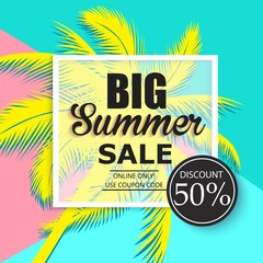 Summer sale banner with palm leaves.