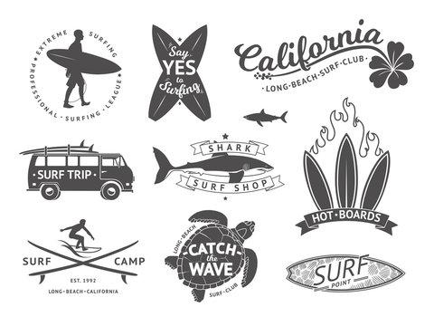 Surf boards emblem and badges vector set. Signs and elements for summer labels design