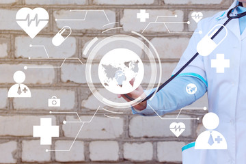Doctor pushing button map medical virtual healthcare network