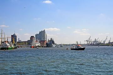 Hamburg port view with new Elbphilharmonie building